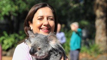 Premier Annastacia Palaszczuk visits Currumbin Wildlife Sanctuary on the Gold Coast during the campaign.