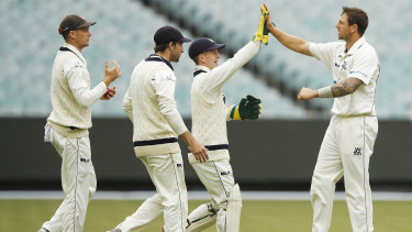 James Pattinson (right) celebrates a wicket at the MCG last week