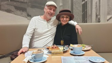 Holland Park couple Chris Sharman and Michele Sinclair were happily eating their first brunch out in eight weeks. They hope to soon go back to the cinemas and jive dance socially as restrictions ease.