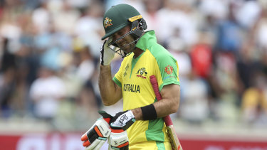 Glenn Maxwell leaves the field after his dismissal in the heavy loss to England.