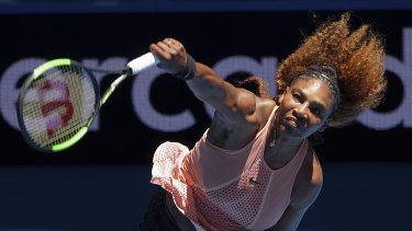 Slow start: Serena Williams serves against Maria Sakkari of Greece at the Hopman Cup in Perth.