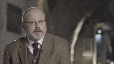 In this image made from a March 2018 video provided by Metafora Production, Jamal Khashoggi speaks during an interview at an undisclosed location two weeks before he was murdered.