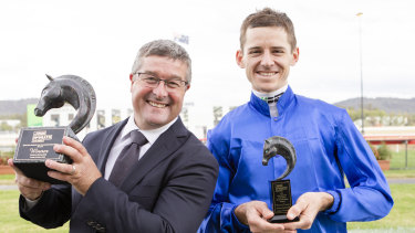 Spokesman Darren Beadman and winning jockey Jason Collett.