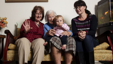 The four generations of Brewers, Christine Moroney, 63, Norah Richards, 15 months, Dorothy Brewer, 96, and Jocelyn Brewer, 40, try to spend time together regularly.