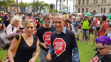 Former Greens Leader Bob Brown and Queensland Greens Senator Larissa Waters at the anti-Adani convoy's Brisbane rally.