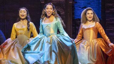 Eramiha, Zuel (middle) and Edmonds as the Schuyler sisters in Hamilton.