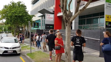 A queue outside the Mount Gravatt Centrelink office in Brisbane.
