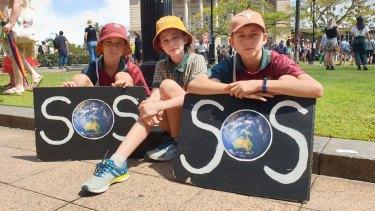 Year 5 and 6 students Oscar Heunis, Xanthe Hincksman and Sebastian Heunis.