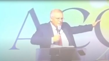 Prime Minister Scott Morrison at the Australian Christian churches conference on the Gold Coast this month.