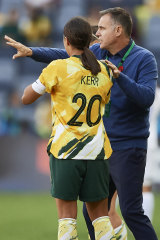 Positive: Matildas star Sam Kerr with coach Ante Milicic.