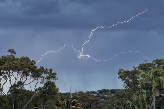 A fast-moving storm raced across parts of Sydney about lunchtime, bringing with it small hail.