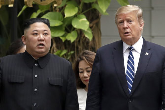 Donald Trump and Kim Jong-un in Hanoi early this year.