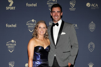 Healy and husband Mitch Starc at Australian cricket's awards night earlier this year.