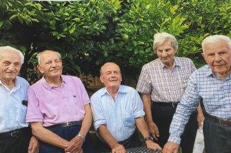 Jack's friends gathered at his West Preston home on his 90th birthday celebration in January 2017. Jack Constantinou, Jack Alexandrou, Michael Palekis, Chris Theodorou and Ari Kyriacou.