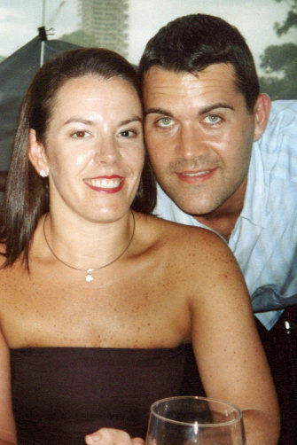 With first husband Tony Caddick, who she dumped and fleeced after cheating on him.