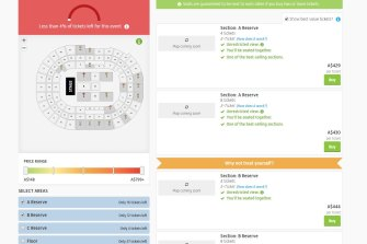 Tickets for the same Cher concert, on sale at Viagogo.