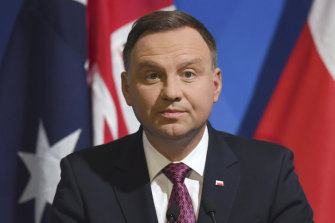 Polish President Andrzej Duda pictured in Sydney during his state visit to Australia in August 2018. His government has sought to appeal to right-wing voters.