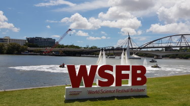 A water jetpack display at the launch of the World Science Festival Brisbane 2019 program.