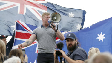 Far-right figurehead Blair Cottrell at a rally in January.