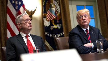 US President Donald Trump pictured with Secretary of Defence Jim Mattis in October.