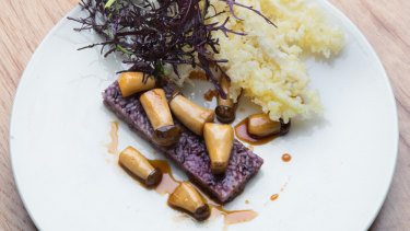 The purple hash with sauteed mushrooms.