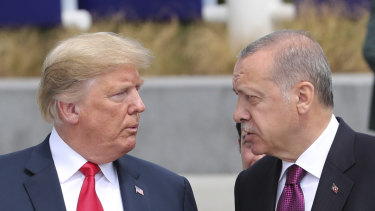 Trump and Erdogan in Brussels last month.