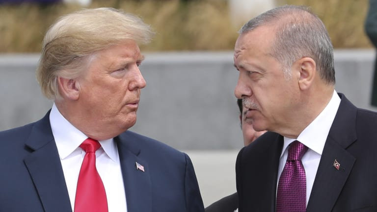 "Trump and Erdogan in Brussels last month. The US President said in a tweet that relations with Turkey were ""not very good at this time""."