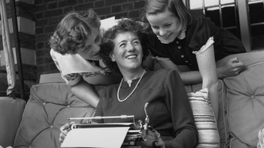 Enid Blyton in 1949 with her daughters.