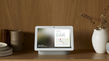 The Nest Hub Max will show you weather, traffic, appointments or suggestions for things to watch and listen to when it sees your face.