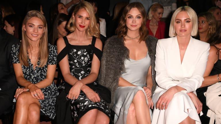(L-R) Sam Frost, Nikki Phillips, Ksenija Lukich and Jesinta Franklin at the Myer Spring/Summer 2018 runway show.