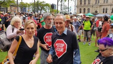Former Greens Leader Bob Brown and Queensland Greens Senator Larissa Waters at the anti-Adani convoy's Brisbane rally.