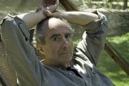 Novelist Philip Roth at home in 2005.  His themes across 27 novels included sex and desire, health and mortality, and Jewishness and its obligations.