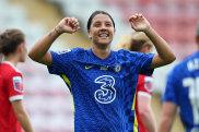 Sam Kerr celebrates scoring for Chelsea against Manchester United in the WSL on Sunday.