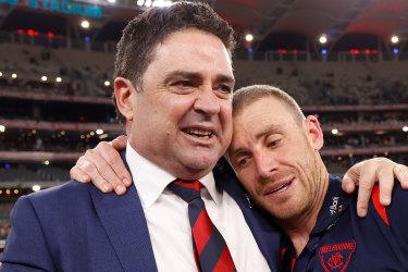 Melbourne great Garry Lyon with coach Simon Goodwin.