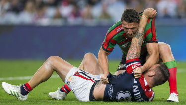 Sam Burgess was suspended for a hair pull during the final round regular season clash against the Roosters.