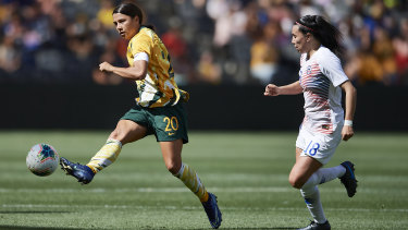 Sam Kerr fires a shot at goal in the Matildas' 2-1 win over Chile at Bankwest Stadium.