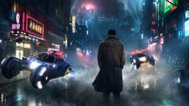 A vision of flying cars in this promotional image for Blade Runner 2049.