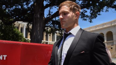 Jack de Belin departs the NSW District Court in Wollongong on Monday after a hung trial.