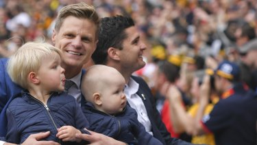 Nick Riewoldt and sons in the 2017 grand final motorcade.