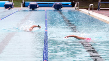 Keep your distance ... one swimmer per lane, except for the occasional interloping duck.