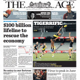 The Age's front page today, put together by staff working from home.