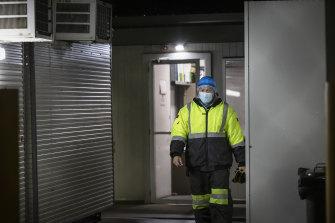 A worker at Midfield Meats abattoir in Warrnambool.