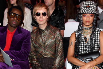 Beck with Curtis Harding and Kelsey Lu at the Gucci Show at Milan Fashion Week in September.