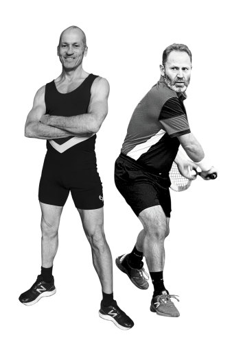 "Two mates, two different experiences: journalist Mark Whittaker (left) says his knee pain disappeared after adopting an ""animal-based"" diet, while his friend, former tennis pro Iggy Jovanovic (right), found switching to a vegan diet fixed his arthritic knees."