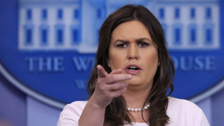 White House press secretary Sarah Huckabee Sanders takes questions from reporters.