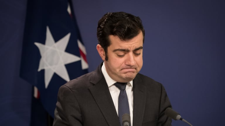 Sam Dastyari announces his resignation at a press conference in Sydney.