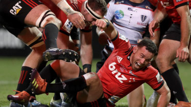 Cherry on top: Ryan Crotty reacts after scoring his team's final try in Christchurch.