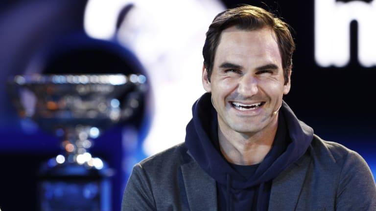 Roger Federer at the draw for the Australian Open.