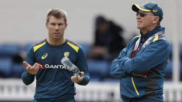 Run of outs: David Warner, seen here with selector Trevor Hohns, has had meagre returns this series.