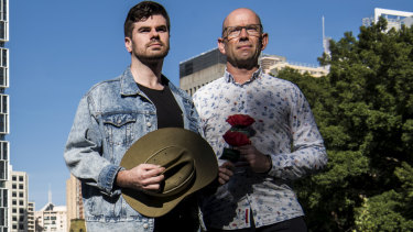Ian Gerrard, right, has put his house on the line to back a musical he's written about Anzac hero Simpson, played by actor Lincoln Elliott, left, and his donkey.